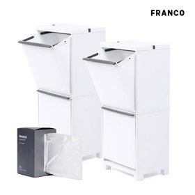 프랑코 스탠드 분리수거함2단(40L) 2개 + 비닐봉투 세트